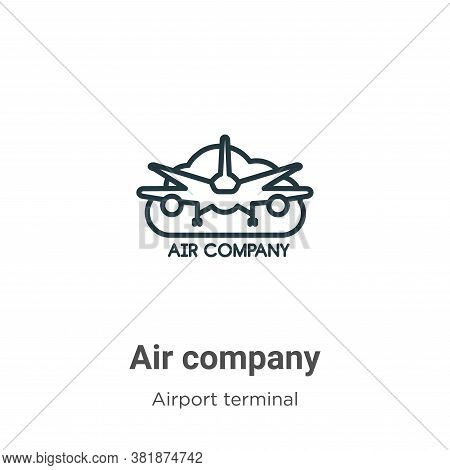 Air company icon isolated on white background from airport terminal collection. Air company icon tre