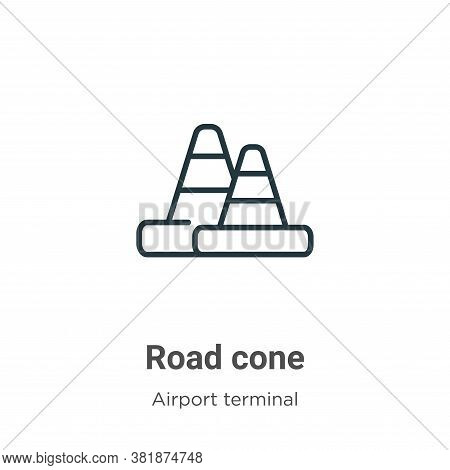 Road cone icon isolated on white background from airport terminal collection. Road cone icon trendy