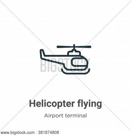 Helicopter flying icon isolated on white background from airport terminal collection. Helicopter fly