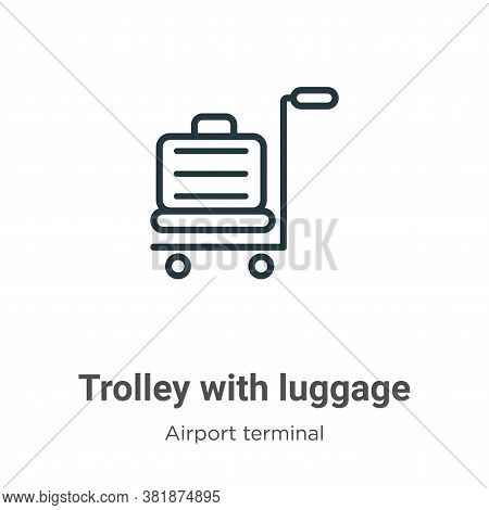 Trolley with luggage icon isolated on white background from airport terminal collection. Trolley wit