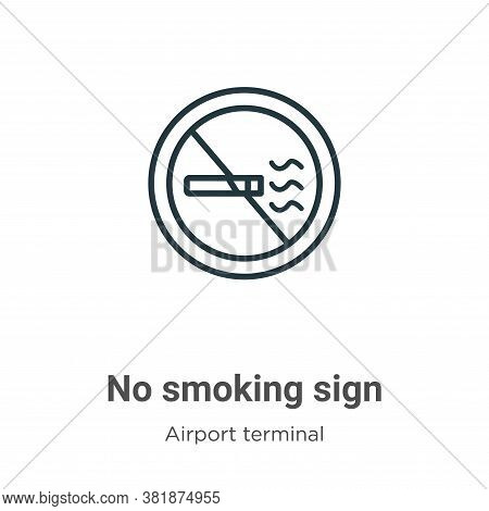 No smoking sign icon isolated on white background from airport terminal collection. No smoking sign