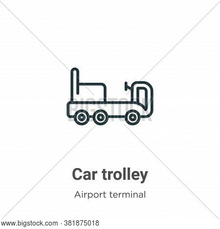 Car trolley icon isolated on white background from airport terminal collection. Car trolley icon tre