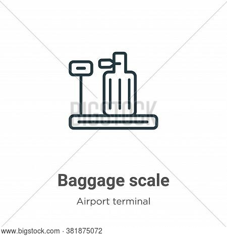 Baggage scale icon isolated on white background from airport terminal collection. Baggage scale icon