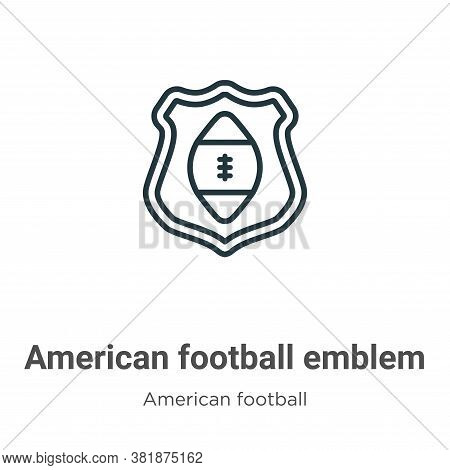 American football emblem icon isolated on white background from american football collection. Americ