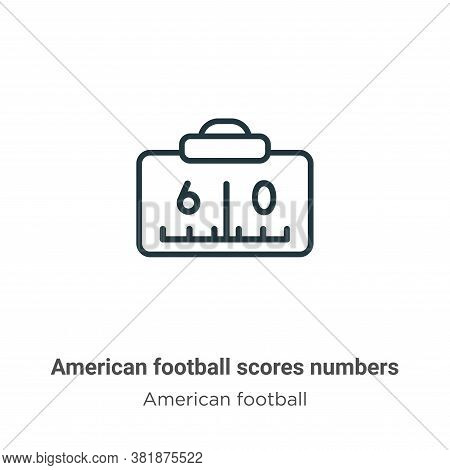 American football scores numbers icon isolated on white background from american football collection