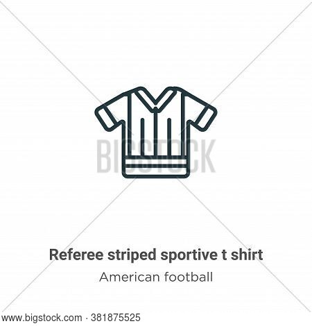 Referee striped sportive t shirt icon isolated on white background from american football collection