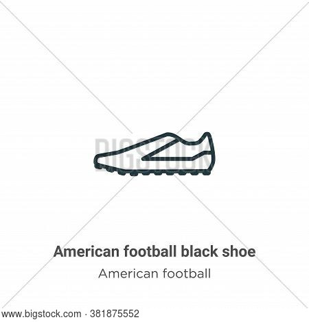 American football black shoe icon isolated on white background from american football collection. Am