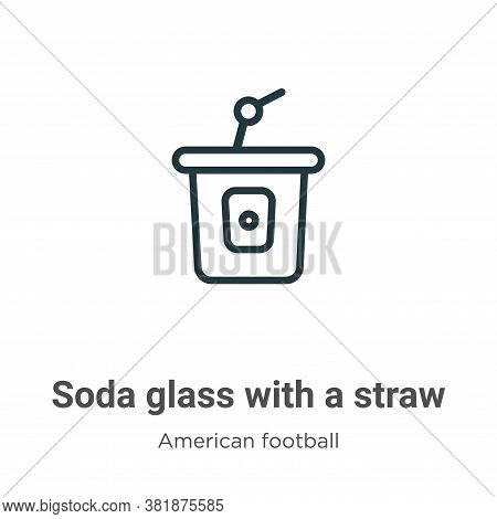 Soda glass with a straw icon isolated on white background from american football collection. Soda gl