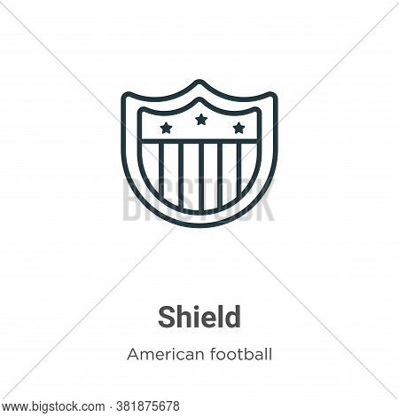 Shield icon isolated on white background from american football collection. Shield icon trendy and m