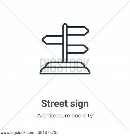 Street sign icon isolated on white background from architecture and city collection. Street sign ico