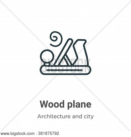 Wood plane icon isolated on white background from architecture and city collection. Wood plane icon