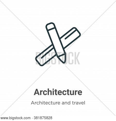 Architecture scale pencil icon isolated on white background from architecture and travel collection.
