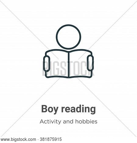 Boy reading icon isolated on white background from activity and hobbies collection. Boy reading icon