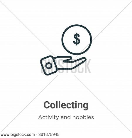 Collecting icon isolated on white background from activity and hobbies collection. Collecting icon t