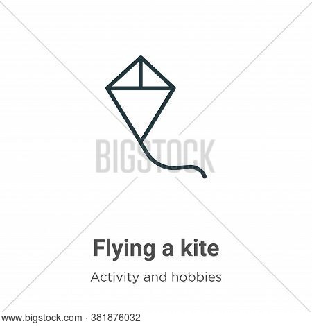 Flying a kite icon isolated on white background from activity and hobbies collection. Flying a kite
