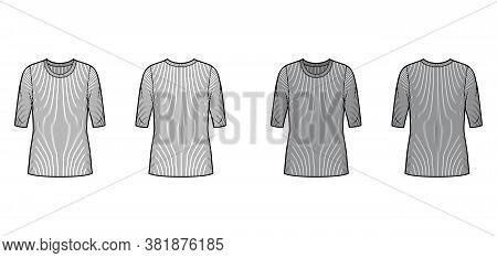 Ribbed Crew Neck Knit Sweater Technical Fashion Illustration With Elbow Sleeves, Oversized Body, Tun