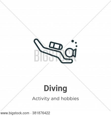 Diving icon isolated on white background from activities collection. Diving icon trendy and modern D