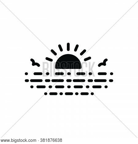 Black Solid Icon For Lake Loch Lough Pond Pool Reservoir Lagoon Sun Sunrise Rise Water Nature