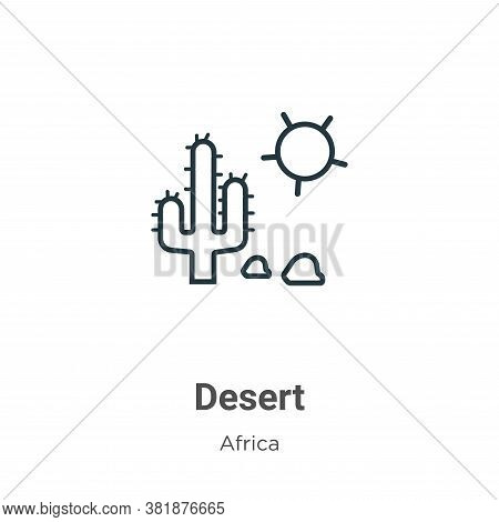 Desert icon isolated on white background from africa collection. Desert icon trendy and modern Deser