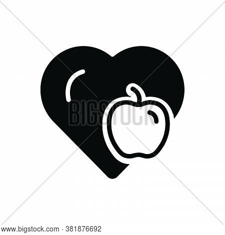 Black Solid Icon For Maintain Health Diet Fruit Apple Nutrition Fresh Food