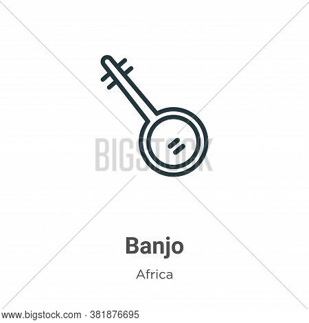 Banjo Icon From Africa Collection Isolated On White Background.