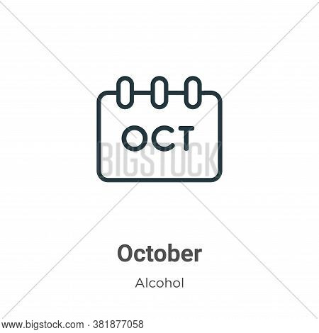 October icon isolated on white background from alcohol collection. October icon trendy and modern Oc