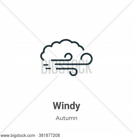 Windy icon isolated on white background from autumn collection. Windy icon trendy and modern Windy s