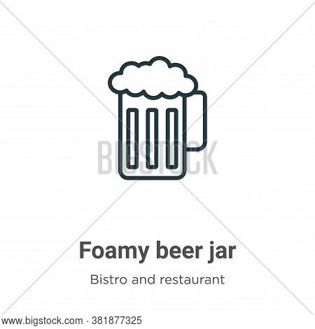 Foamy beer jar icon isolated on white background from bistro and restaurant collection. Foamy beer j