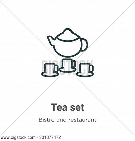 Tea set icon isolated on white background from bistro and restaurant collection. Tea set icon trendy