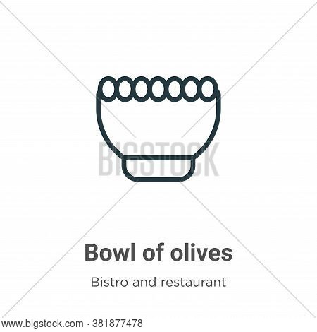 Bowl of olives icon isolated on white background from bistro and restaurant collection. Bowl of oliv
