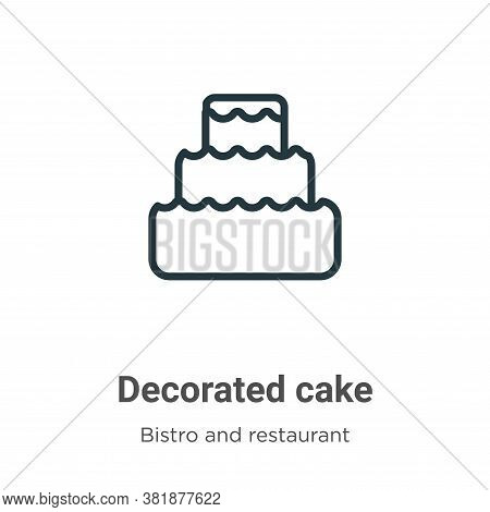 Decorated cake icon isolated on white background from bistro and restaurant collection. Decorated ca