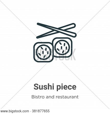 Sushi piece icon isolated on white background from bistro and restaurant collection. Sushi piece ico