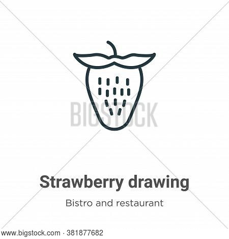 Strawberry drawing icon isolated on white background from bistro and restaurant collection. Strawber