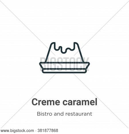 Creme caramel icon isolated on white background from bistro and restaurant collection. Creme caramel