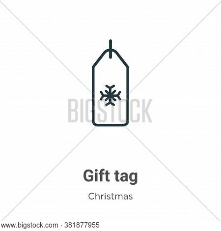 Gift tag icon isolated on white background from christmas collection. Gift tag icon trendy and moder