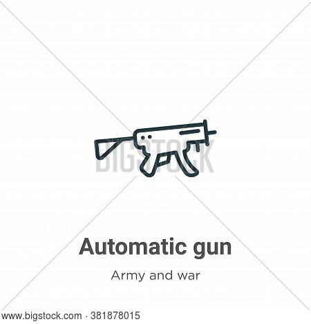 Automatic gun icon isolated on white background from army and war collection. Automatic gun icon tre