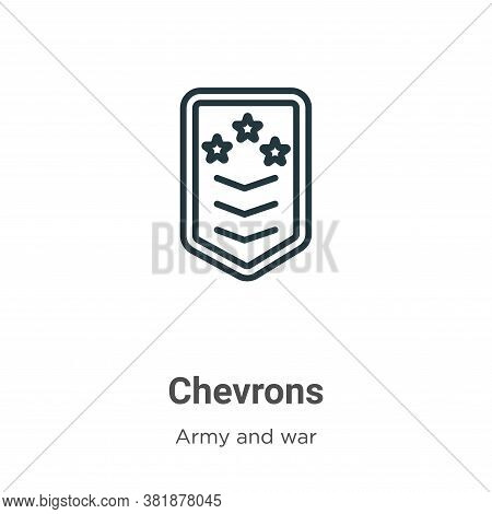 Chevrons icon isolated on white background from army and war collection. Chevrons icon trendy and mo