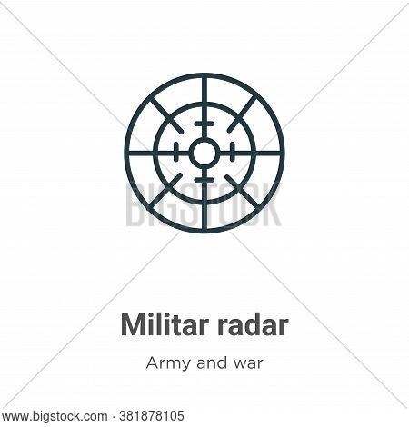 Militar radar icon isolated on white background from army and war collection. Militar radar icon tre