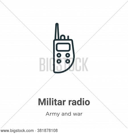 Militar radio icon isolated on white background from army and war collection. Militar radio icon tre