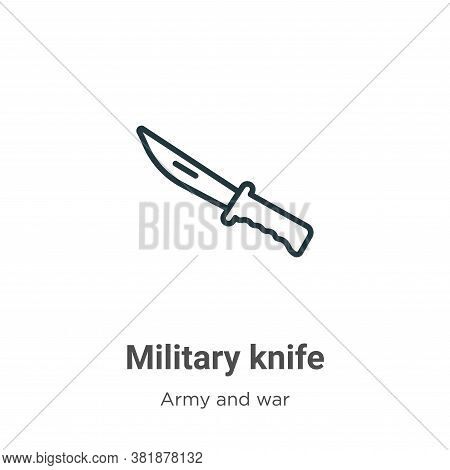 Military knife icon isolated on white background from army and war collection. Military knife icon t