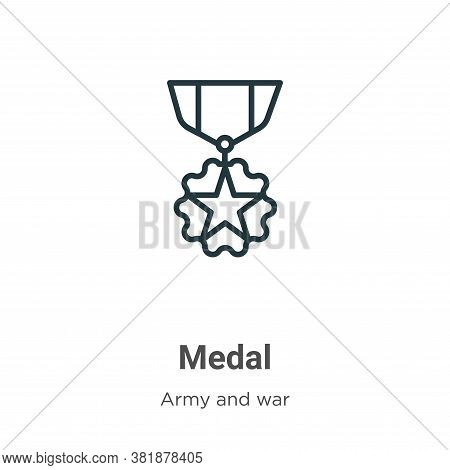Medal icon isolated on white background from army collection. Medal icon trendy and modern Medal sym