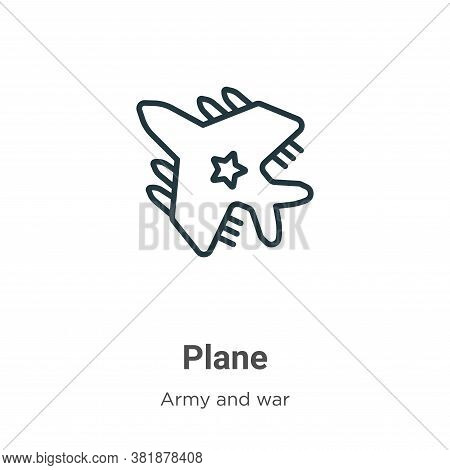 Plane icon isolated on white background from army collection. Plane icon trendy and modern Plane sym