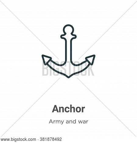 Anchor icon isolated on white background from army collection. Anchor icon trendy and modern Anchor