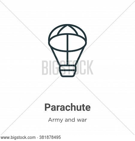 Parachute icon isolated on white background from army collection. Parachute icon trendy and modern P