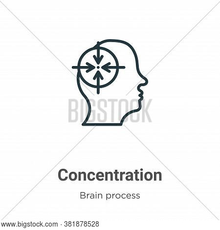 Concentration icon isolated on white background from brain process collection. Concentration icon tr