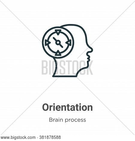 Orientation icon isolated on white background from brain process collection. Orientation icon trendy