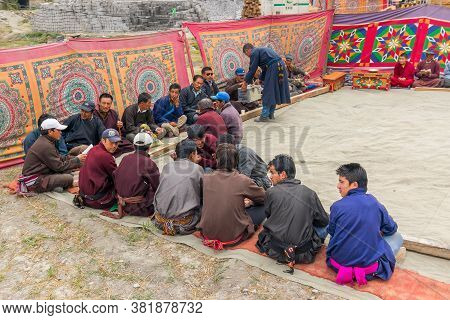 Mulbekh, Ladakh, India - 2nd September 2014 : Ladakhi People In Traditional Dresses, Gathered For Re
