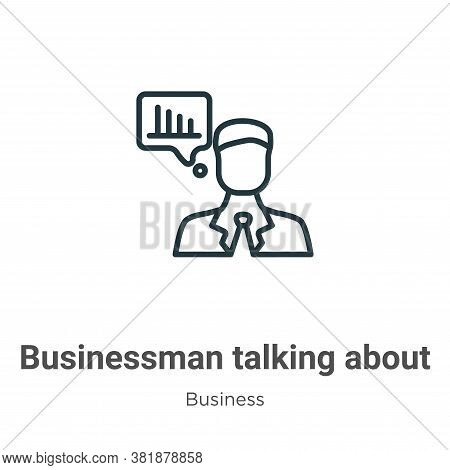Businessman talking about data analysis icon isolated on white background from business collection.