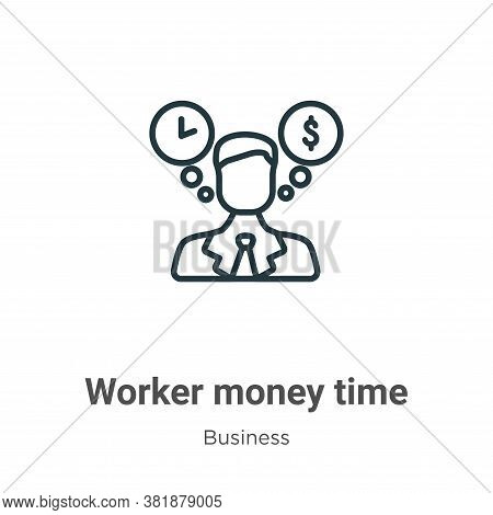 Worker money time icon isolated on white background from business collection. Worker money time icon