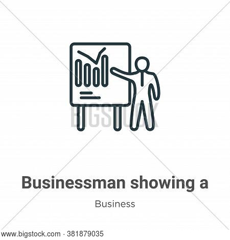 Businessman showing a project sketch icon isolated on white background from business collection. Bus